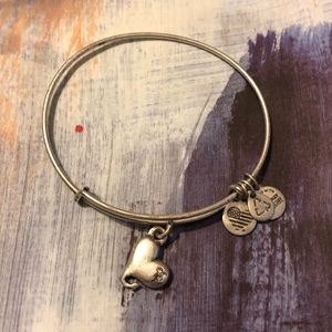 Alex & Ani silver heart charm bracelet